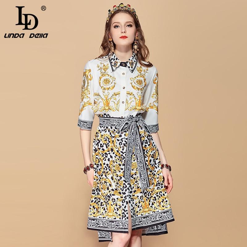 LD LINDA DELLA Beading Loose Sashes Vintage Dress 20193311010