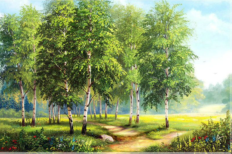 ZOOYA DIY Diamond Painting spring Scenery Diamond puzzle Crafts Full Diamond Embroidery Silver birch picture pastes Home Decor ...