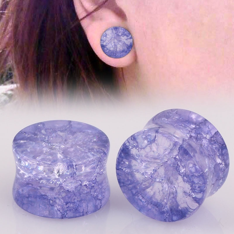 2 Pcs <font><b>Shattered</b></font> Glass Ear Tunnels Plugs Organic Stone Gauges Body Piercing Ear Expander Reamer Flesh Tunnel 8mm-16mm