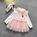 2016 Primavera Verano Nuevos Bebés se Viste de Manga Larga Vestido de la Princesa Niña Ropa de Bebé Vestido de Encaje Del Partido Del Cabrito
