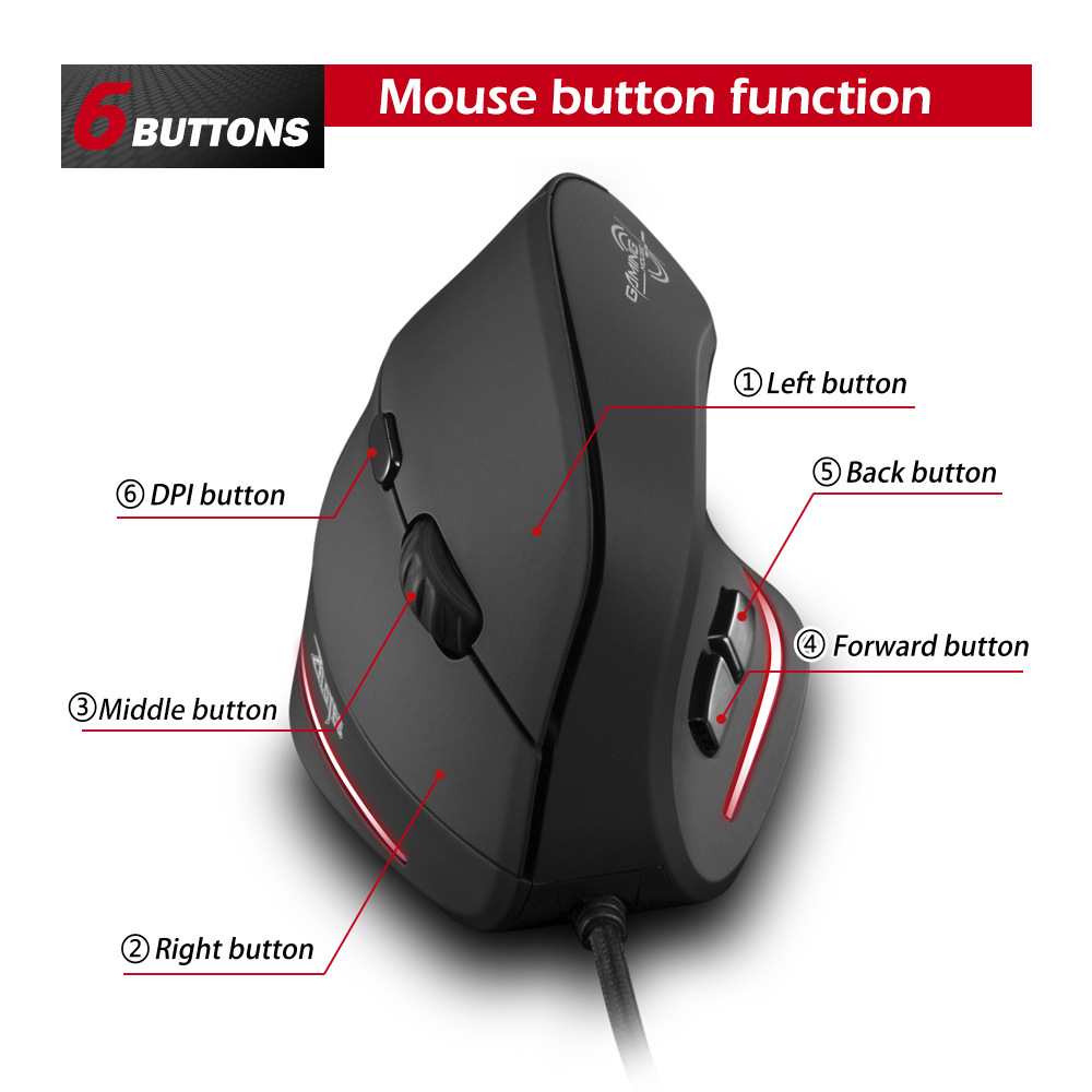 Image 3 - 2400DPI wireless optical mouse vertical programming game mouse vertical mouse ergonomic upright optical mouse-in Mice from Computer & Office