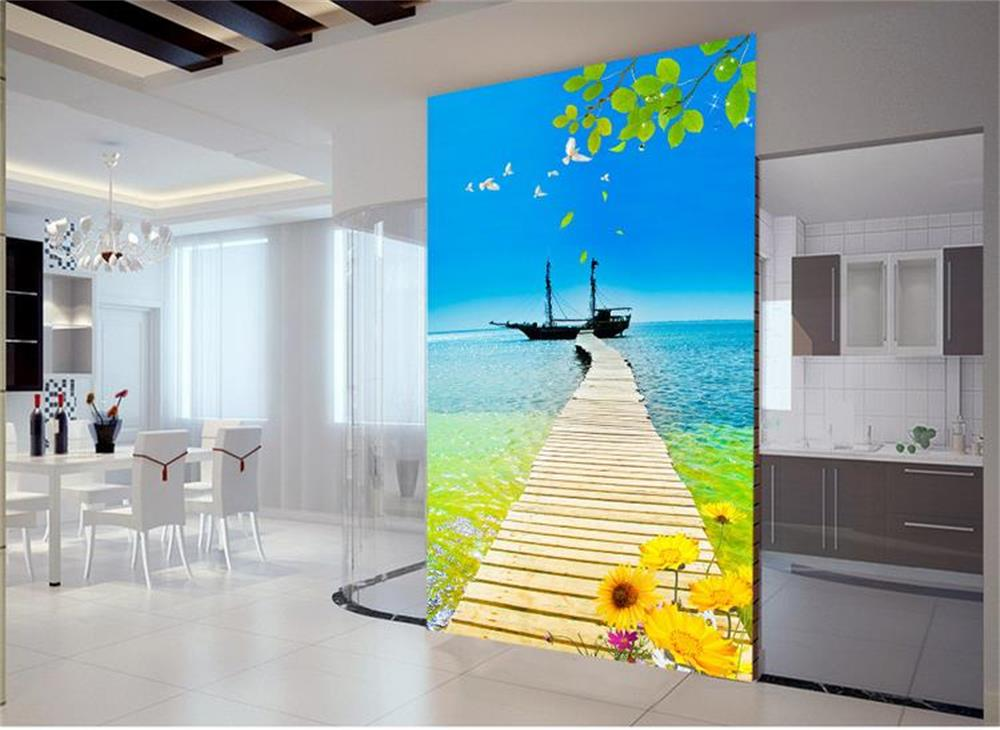 3d Room Wallpaper Custom HD Photo Murals/ Sea Sunflower Porch Background  Wall/TV/sofa/bedding Room//bar/Hotel/living Room