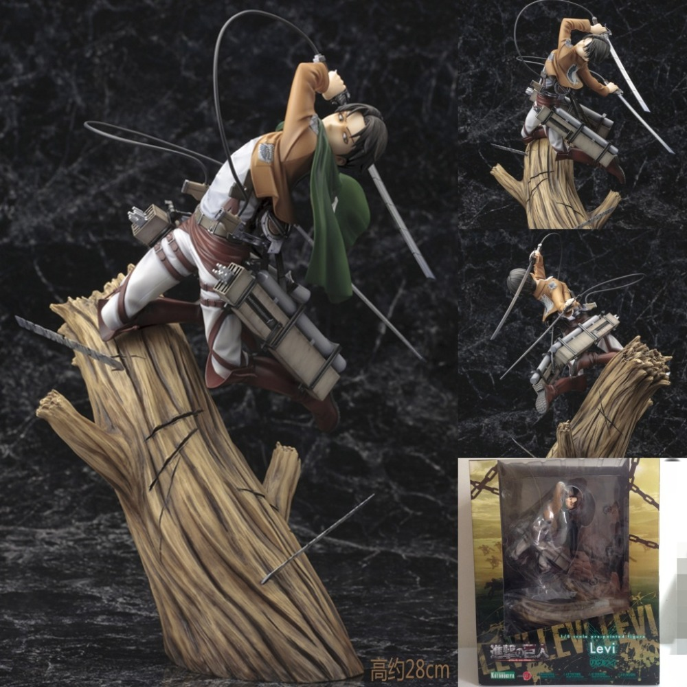 Attack on Titan Levi Rivaille ARTFX J action figures Trunk stand battle Edition toys doll box packaging