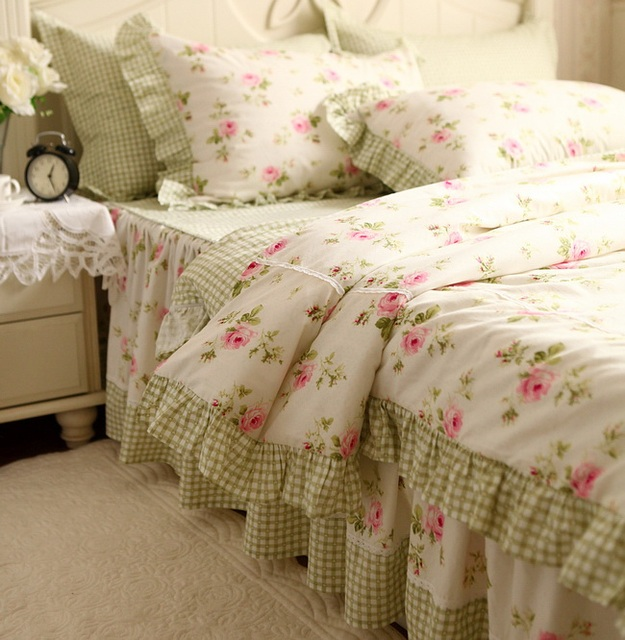rustic pink rose ruffle light green plaid bedding set 100 cotton twin size bed set