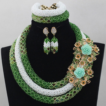 New Green/White Wedding Beads Necklace Set for Women Crystal Bridesmaid Costume Crystal Jewelry Set Free Shipping WD454