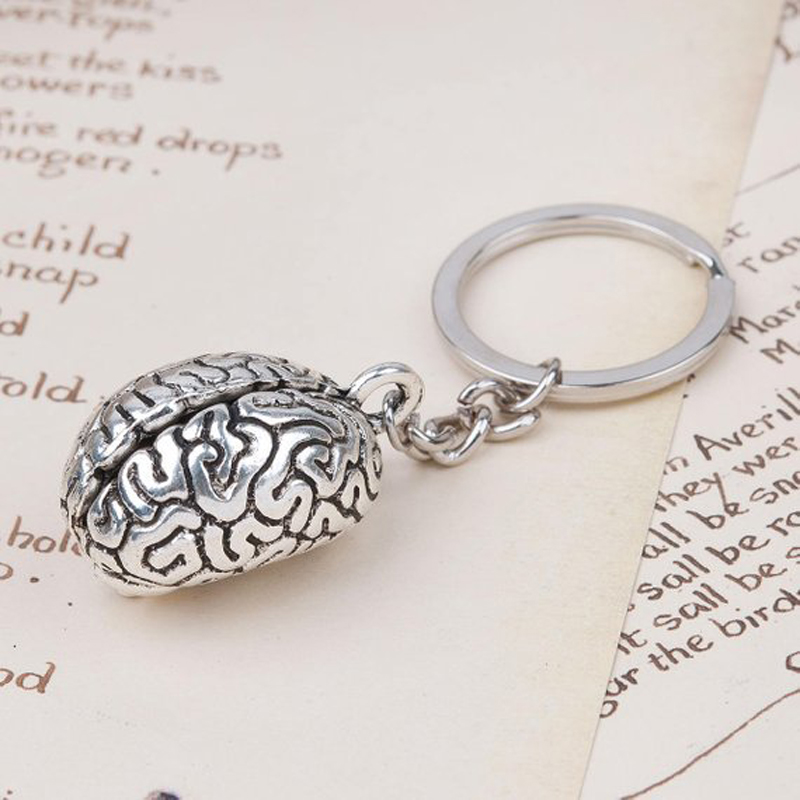 Humans Brain Keychain Anatomy 3D Charm Human Organs Body Parts Zombie Halloween Key Chains Jewelry Gifts