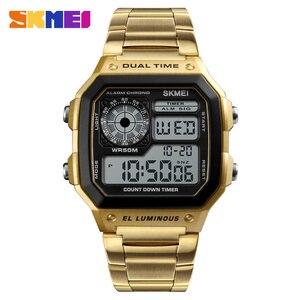 Image 2 - SKMEI Top luxe Sport Horloge Mannen Lichtgevende 5Bar Waterdichte Horloges Roestvrij Stalen Band Digitale Horloge Relogio Masculino 1335