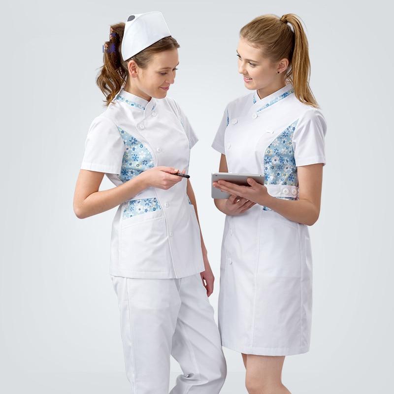 Elegant Nurse Uniform Slim Fit Medical Dress Winter Summer Doctor Gown Medical Clothing Tall White Beautician Waitress Workwear