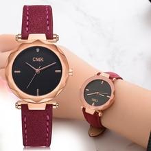 Для женщин брендовый топ роскошные кожаные часы Дамская Мода розовое золото платье кварцевые наручные часы Креативный дизайн часы-браслет