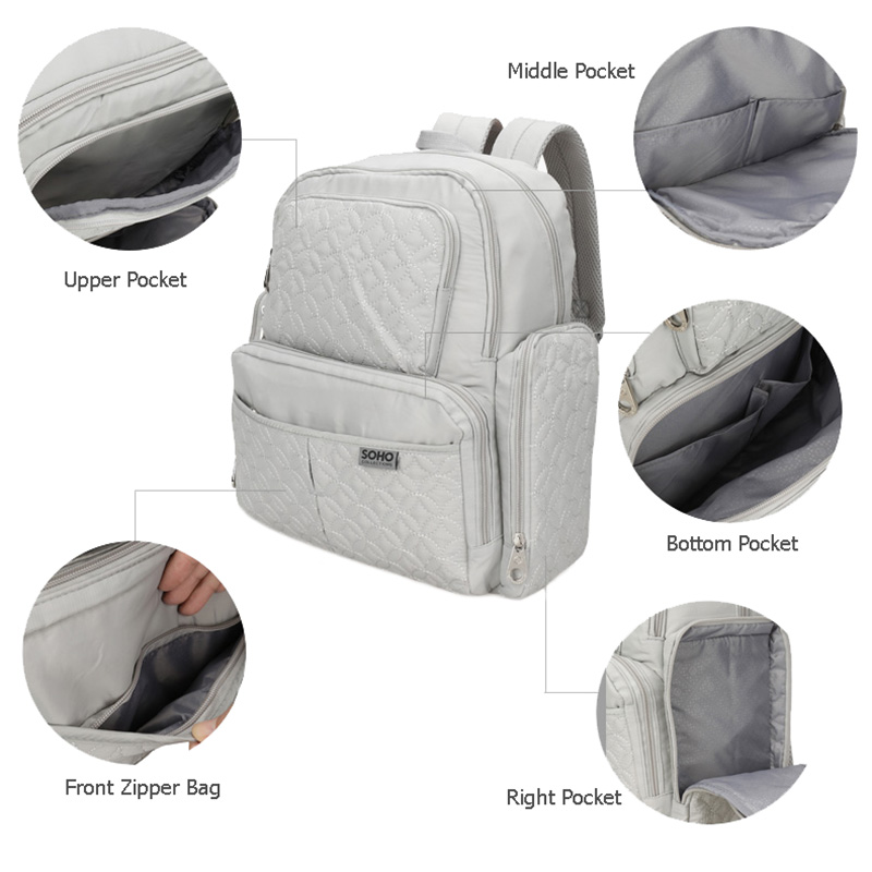 5 Pcs Baby Diaper Bag Large Capacity Baby Care Nappy Bags Multifunction Stroller Hang Tote Mummy Nylon Backpack Mochila BB6029 (5)