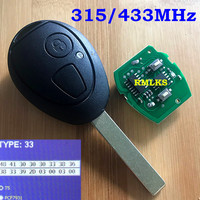 For BMW Car Remote Key For MINI COOPER 2 Button Transponder Remote Key 433MHz 315Mhz FOB Chip PCF7931 ID73 Chip with Bar Code