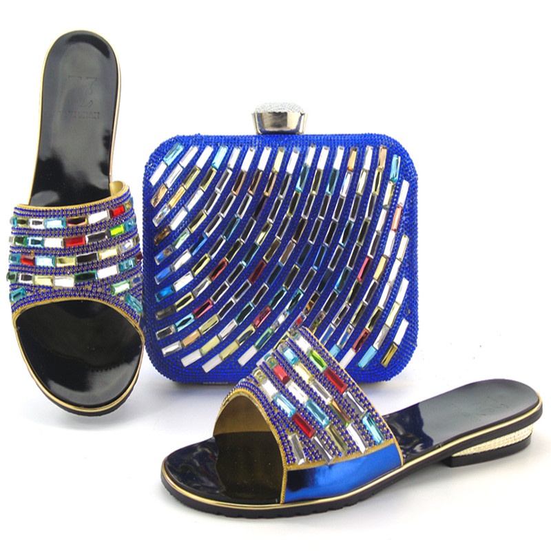 ФОТО High Quality African Shoes and Bag for Woman Italian Matching Shoe and Bag Set Decorated with Stone lu1-6