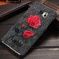 Chic retro arte hecho a mano flor color de rosa bordado ultra delgado teléfono de vivienda protector funda para el samsung galaxy s6 edge plus