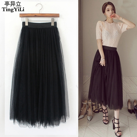 738f0e789b4b5 TingYiLi Long Tulle Skirt Korean Style Princess Long Skirt Autumn Winter  Black White Tulle Skirts Women Fashion Faldas