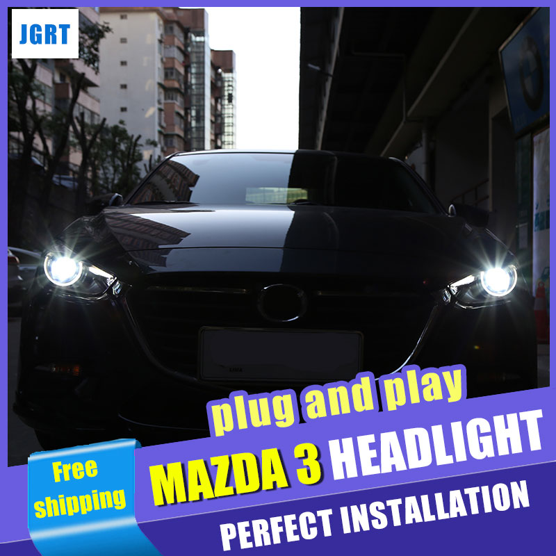 car styling For Mazda 3 Axela headlights assembly 2017 for Mazda 3 Axela xenon H7 with hid kit 2 pcs. front grille trims for mazda 3 axela