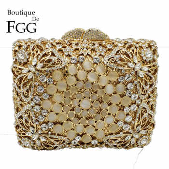 Boutique De FGG Dazzling Hollow Out Butterfly Women Crystal Clutch Bag Evening Wedding Handbags and Purses Bridal Party Bag - DISCOUNT ITEM  50% OFF All Category