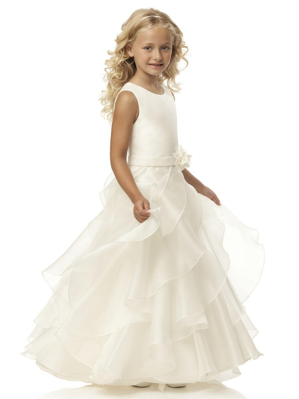 2015 Ivory Tutu   Flower     Girl     Dresses   Scoop Ruffles Handmade Sash Floor Length Zipper Sleeveless Princess vestidos de madrinha
