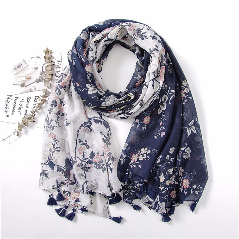 2018 Women Fashion Navy Blue Patchwork Floral Tassel Viscose Shawl   Scarf   Lady   Wraps   Warmer Pashmina Stoles Muslim Hijab Foulards