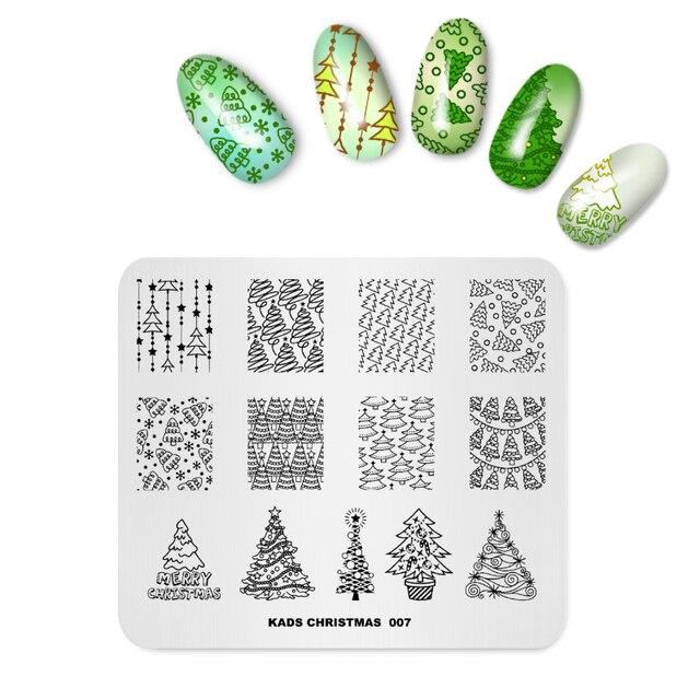 Christmas tree design nail stamping plates Nail Art Template nail ...