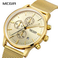 MEGIR Men Sports Watches Fashion Simple Luxury Brand Quartz Wristwatches Stainless Steel Mesh Band thin Dial Relogio Masculino