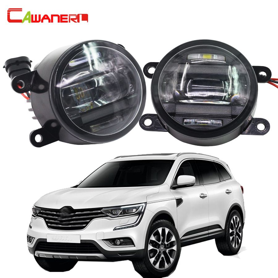 Cawanerl 2 Pieces Car Styling LED Front Fog Light DRL Daytime Running Lamp For Renault Koleos Captur Fluence Kangoo Grand Scenic microfiber leather steering wheel cover car styling for renault scenic fluence koleos talisman captur kadjar