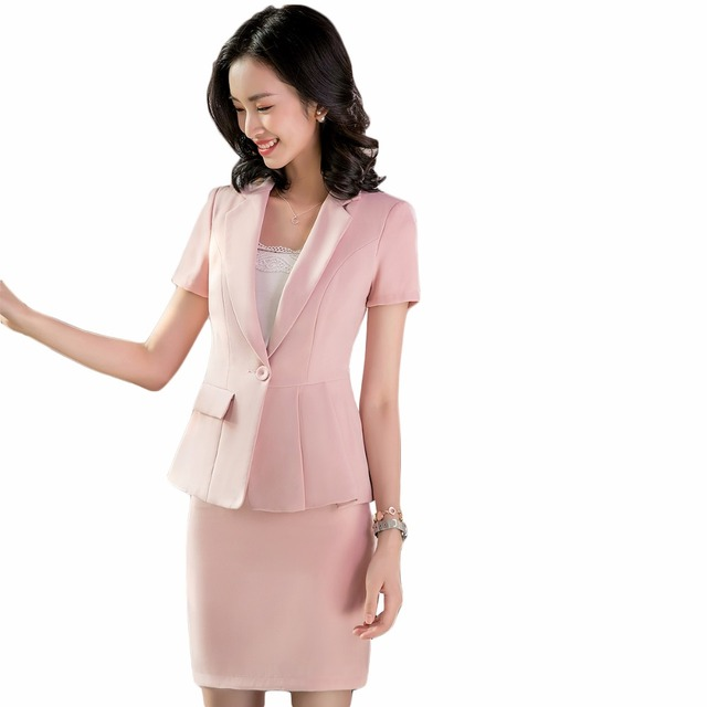 b2bac6e267e68 Female Pink Skirt Suits Women Suits Skirt and Jacket Sets New 2018 Office  Uniform Style Plus Size Work Wear skirt suits
