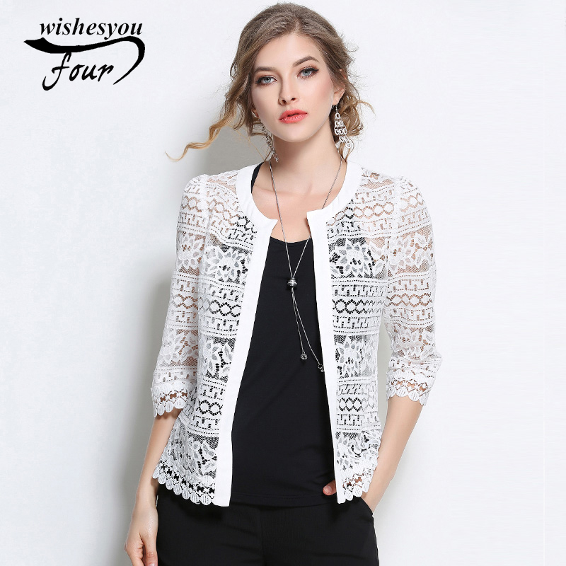 Wome Clothing Ladies White Lace   Blouse   2017 Plus Size Summer Fashion Cardigan Coat Black Crochet Sexy Female   Blouse     Shirt   883F30