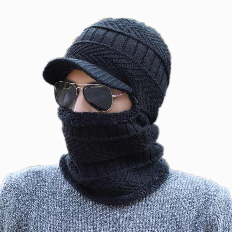 be17e2d8a9d 2018 Balaclava Winter Women Men Skullies Beanies Hat Wool Knitted Balaclava  Cap Ninja Mask Thermal Plush