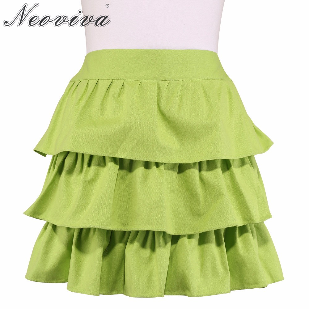 Neoviva Women Waist Apron for Kitchen with Flirty Ruffles Susan Solid Green Glow Girls Skirts Short Sexy Aprons Delantal Mujer