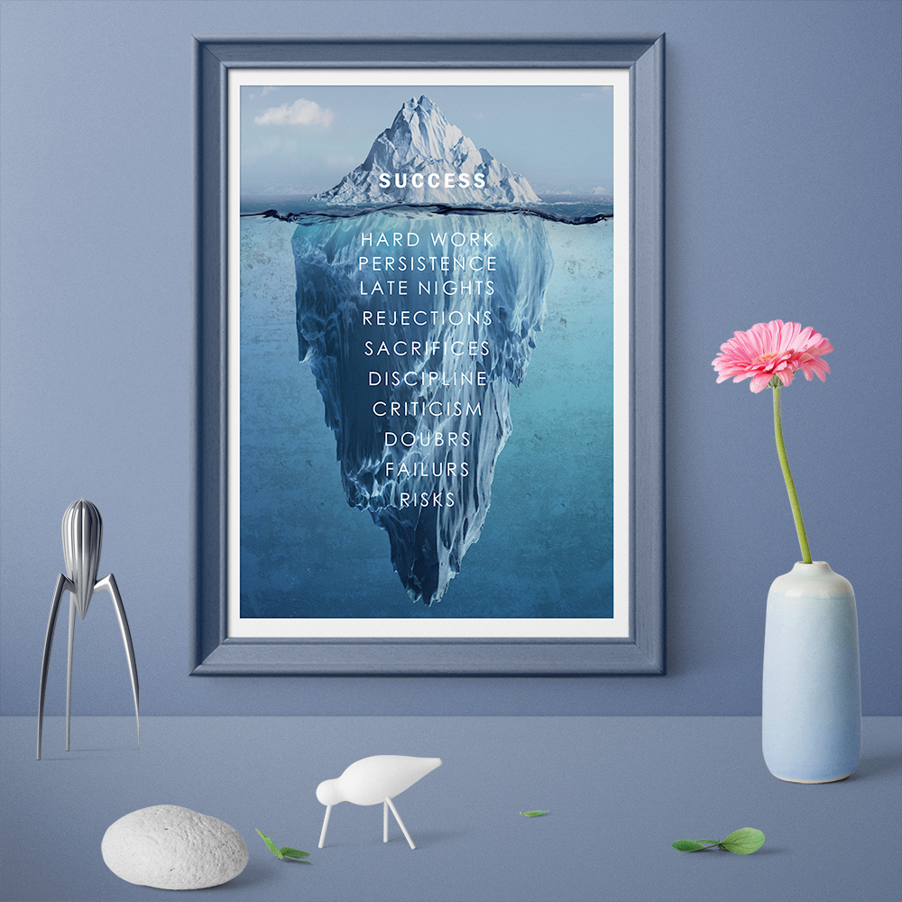 Success Inspiration Quote Canvas Painting Decor Iceberg Hidden Depths Wall Pictures For Home Decoration Posters and Prints