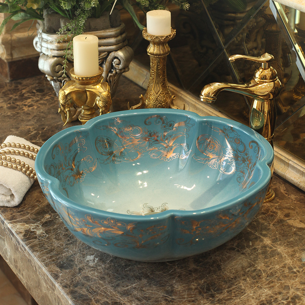 Jingdezhen céramique dessus du comptoir bassin art bassin rond Européenne moderne minimaliste salle de bains évier lavabo couleur LO620419