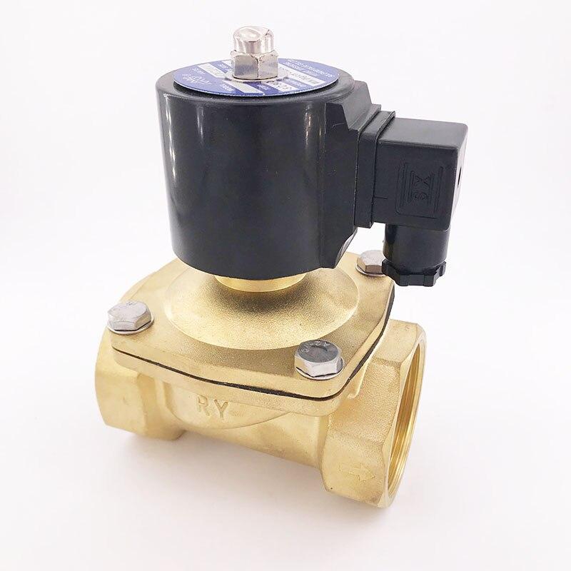 GOGO AC220V 24V DC 12V DC 2 way brass solenoid valve vacuum 1bar 1bar 2 inch