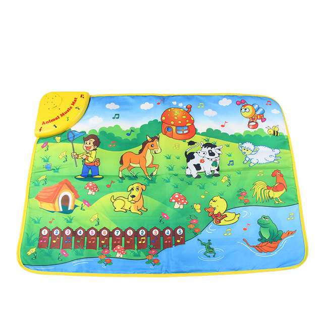69*50cm Animal Farm Theme Musical Learning Mat with Songs & 7 Animals Voice Flashing Touch Play Carpet Educational Toys for Kids