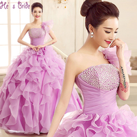 Cheap New Fashion Elegant One Shoulder Quinceanera Dresses With 2017 Crystal Ruffles Floor Length Prom Performance
