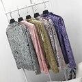Inverno Assentamento Camisa Senhoras da Alta Do Pescoço De Veludo De Manga Comprida T Camisa Top Fino Quente de Veludo Camisola 2016 Novo