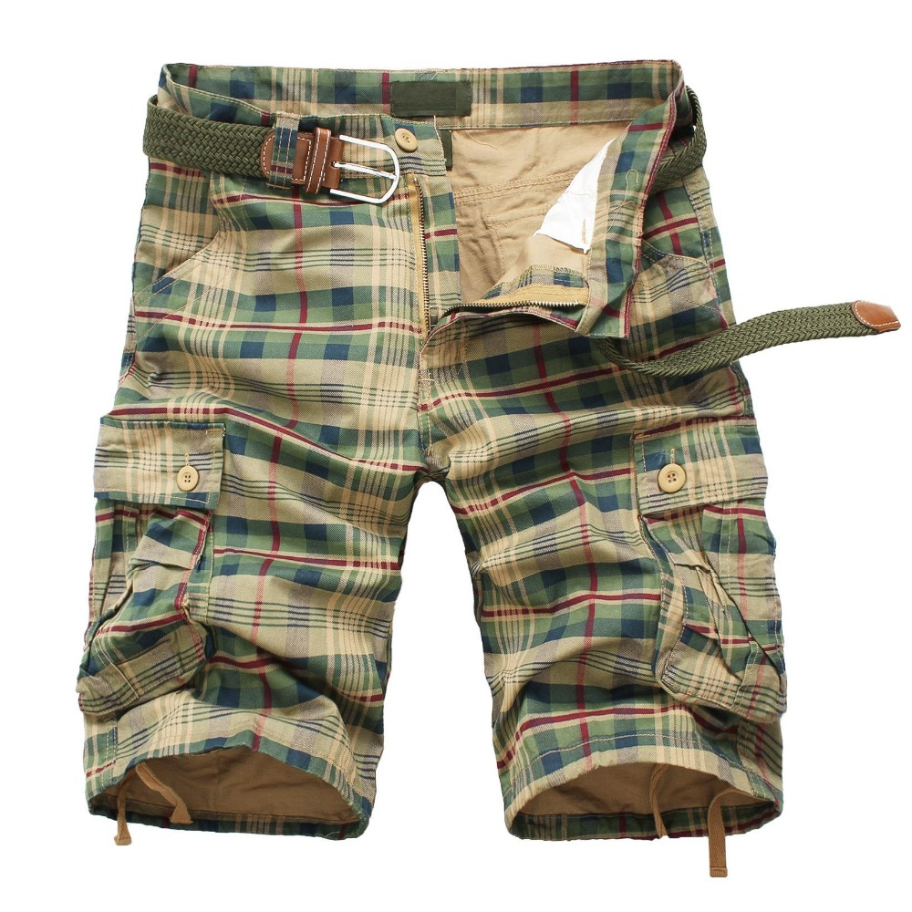 AIMENWANT 2018 Hot Selling Causal Cotton Khaki Plaid Pocket Straight Mens Cargo Shorts Fashion Workout Knee-Length Trousers Men