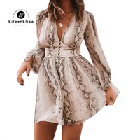 Mini Dress Women Spring Casual V Neck Long Sleeve Dress Snake Print Dresses 2019 New Women Clothing