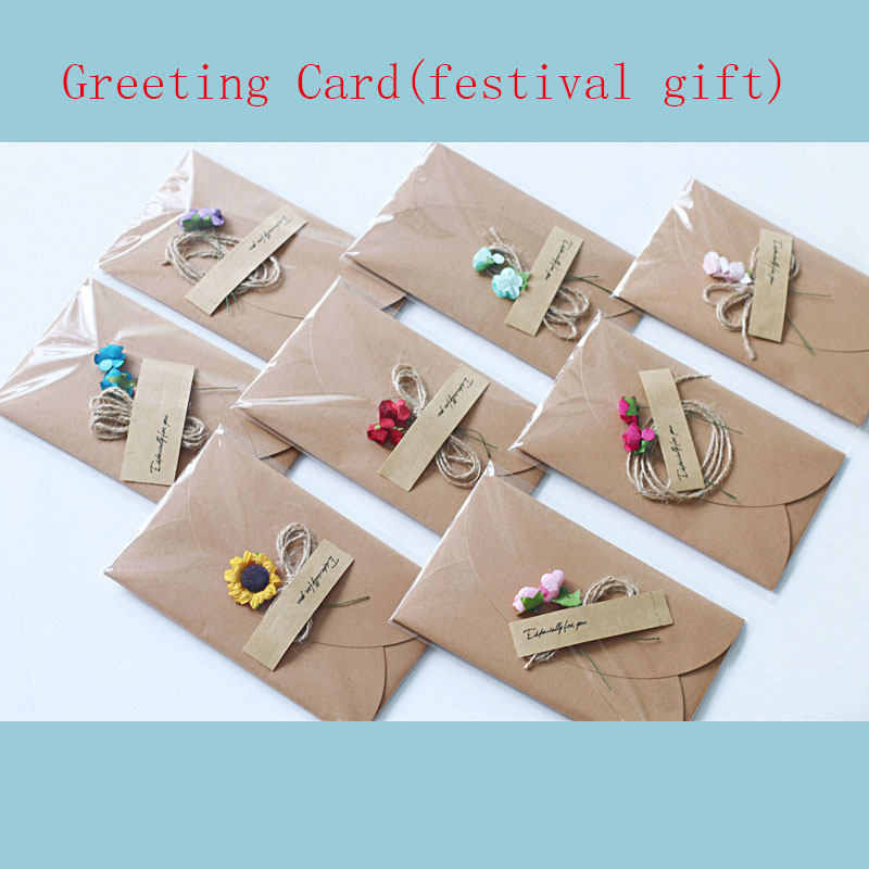 Executive College Stationery Note Cards: 5pcs New Stationery Kraft Paper DIY Dired Flower