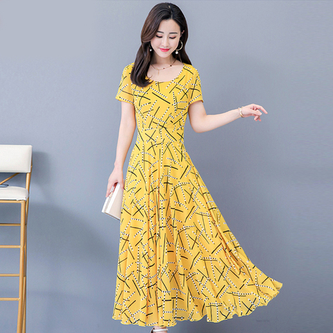 Women Short Sleeve Dresses Print Summer Dress 2019 Fashion Casual Summer Dress Pakistan