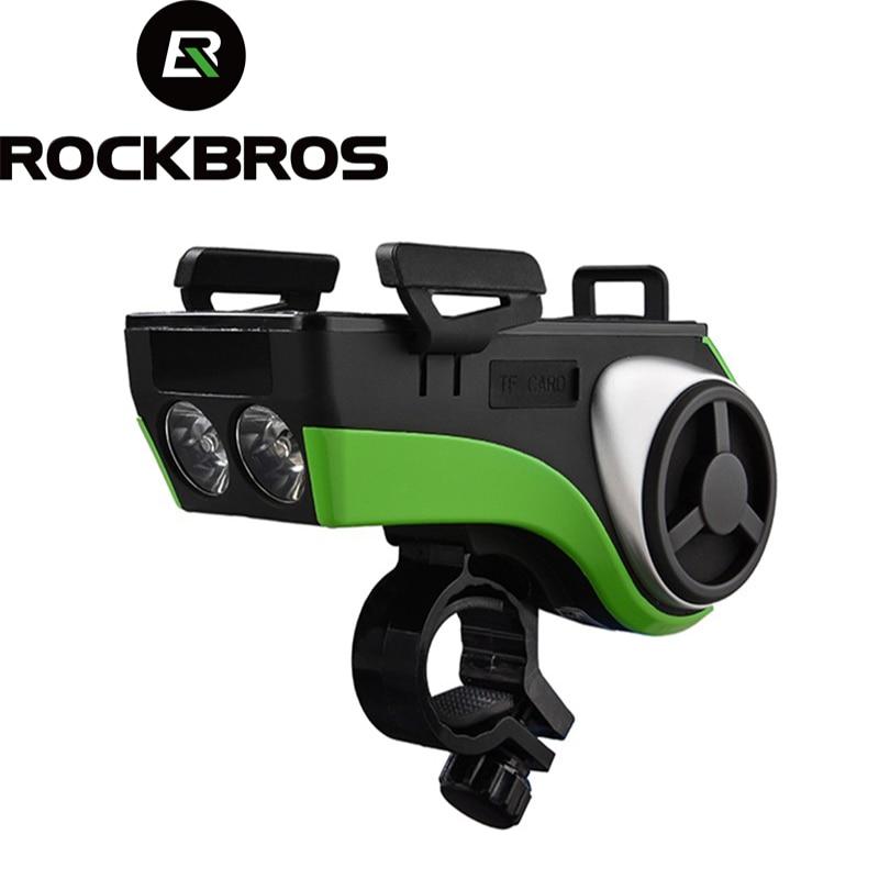 ROCKBROS Vélo Lampe De Poche Étanche Lumière De Vélo Support de Téléphone Bluetooth Audio MP3 Haut-Parleur 4400 mAh Puissance Banque Vélo Anneau de Bell