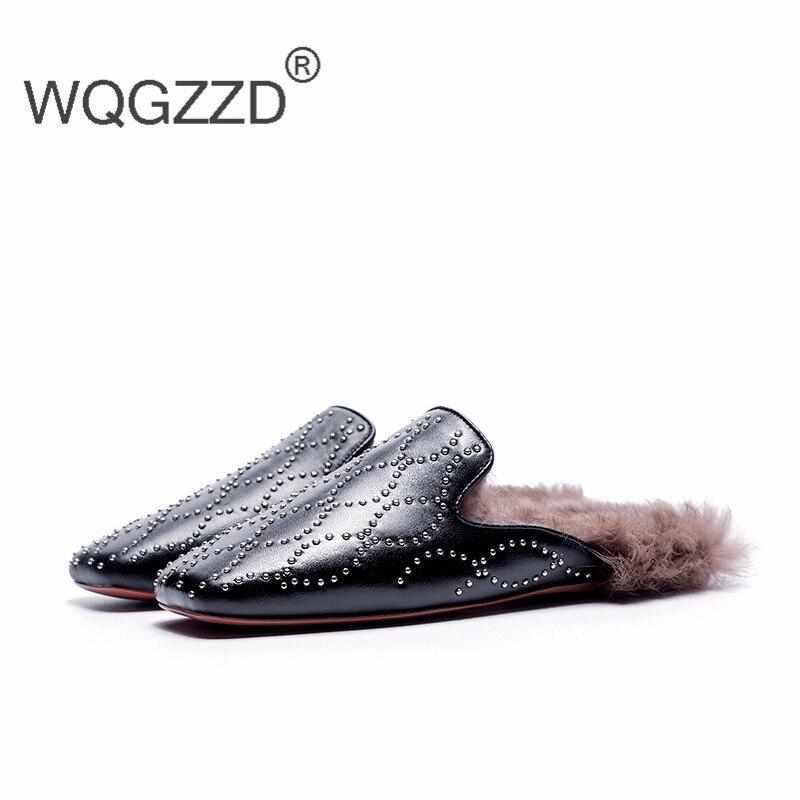 Appartements Peluche Hiver Dehors Black Rivet Pantoufles Mujer Véritable Femmes Luxe Automne Zapatos Marque Chaussures Nouvelle Cuir De En wYAzORUq