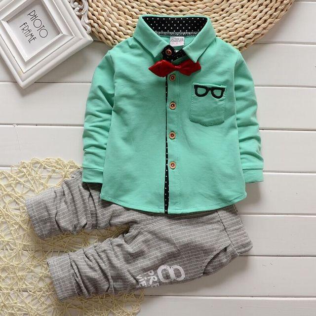 Outono senhores do bebé roupas definir a cor calças camisa xadrez Bebes corrida bebê - roupas 2-pcs com empate por 1 T - 4 T crianças