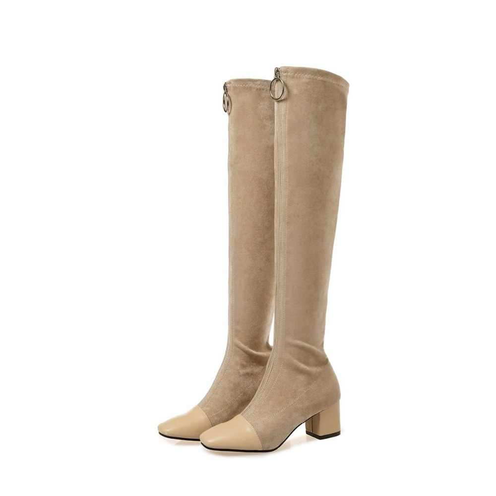 Krazing Pot 2019 echt leer vierkante teen stretch over-de-knie laarzen dikke hakken superstar rits schoonheid dij hoge laarzen L08
