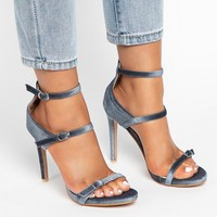 US4 11 Womens Elegant Velvet High Heels Ankle Buckles Sandals Fashion Shoes Stilettos Strap Pumps Plus Size A759