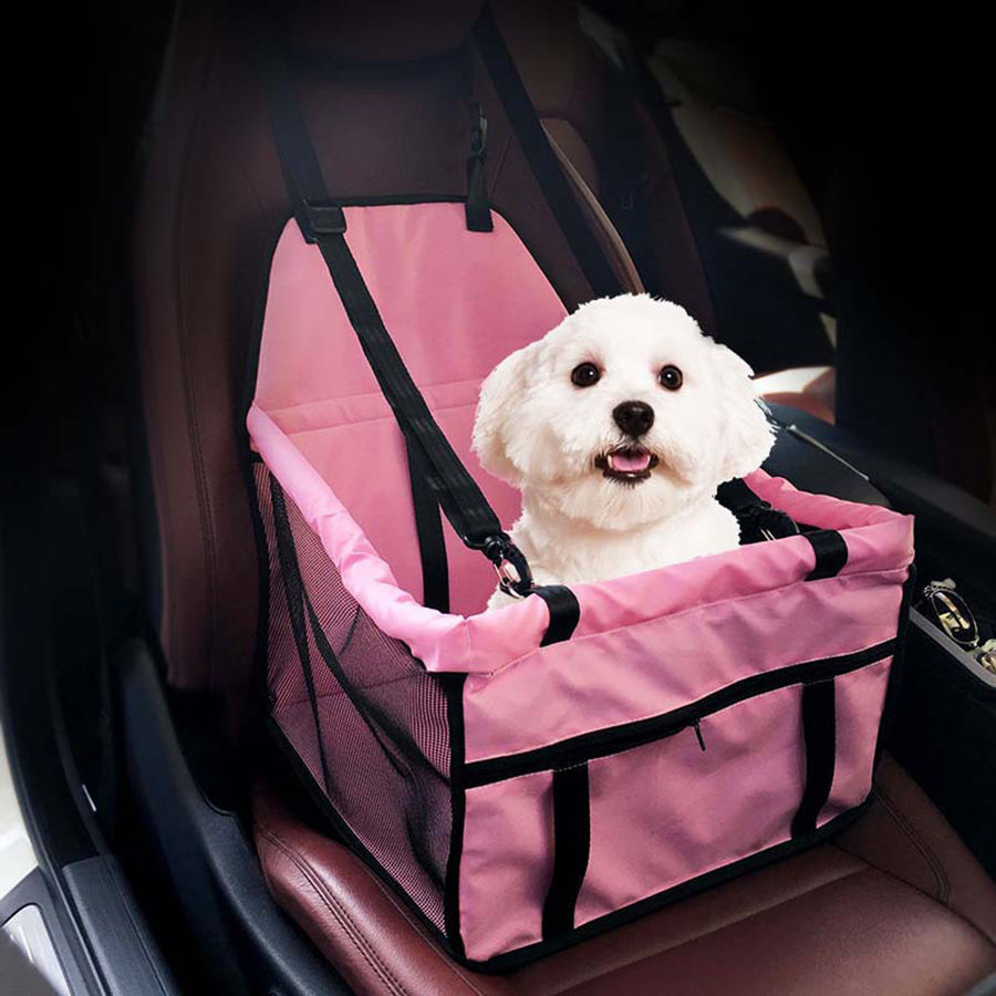 Portable Pet Car Seat Belt Booster Safety Travel Carrier Bag Folding for Small Dog Cat Puppy Pink Blue