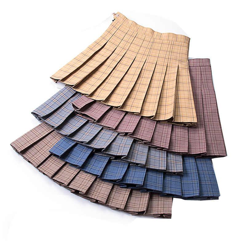 Lato w stylu Preppy kratę krótki plisowana spódnica jesień Super w słodkie kratę linii Mini spódnice Skorts