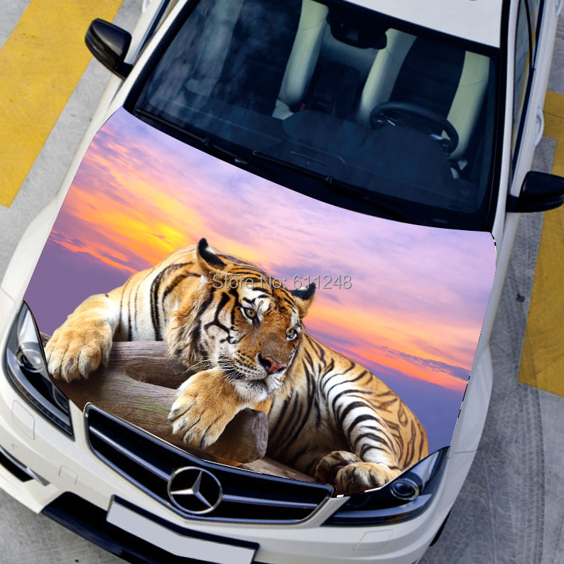 car styling exterior accessories HD 3d Printing Animal Tiger car sticker Waterproof stickers ,135*150cm Center Cap Sticker