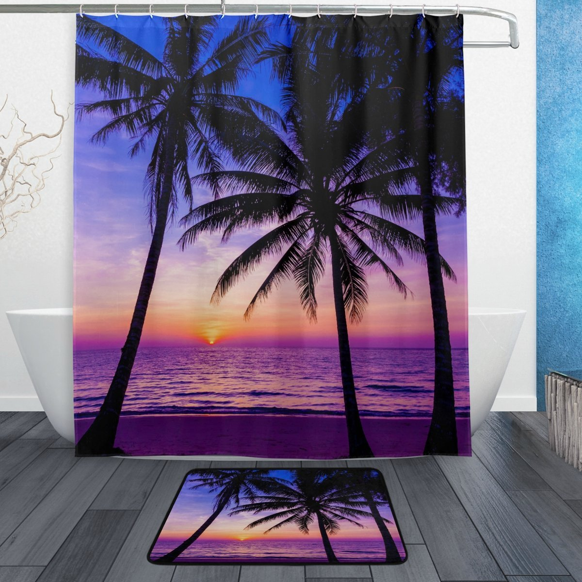 Tropical Island Beach Theme Shower Curtain and Mat Set, Palm Tree Sunset Waterproof Fabric Bathroom Curtain