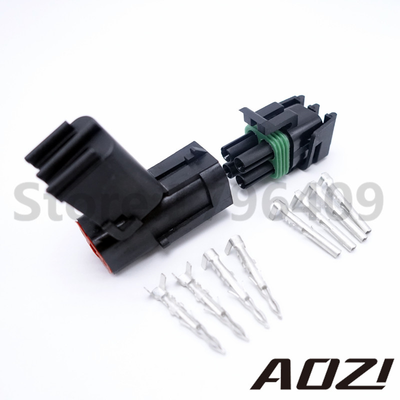 1 Sets Delphi Connector 2.5 Series Plugs Kits Male Female Waterproof Atuo Connectors 4 Pins Way цена и фото