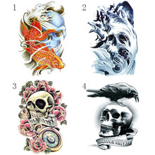 1 Sheet Skull Flower Bird Wave Tattoo Decals Body Art Decal Waterproof Paper Temporary Tattoo